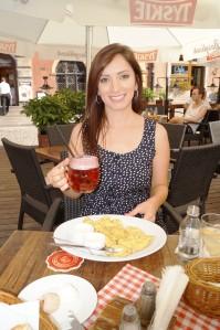 Raspberry-y beer & a plate of pierogies
